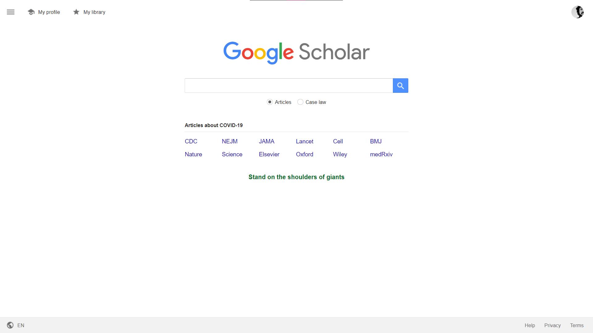 صفحه اصلی گوگل اسکولار