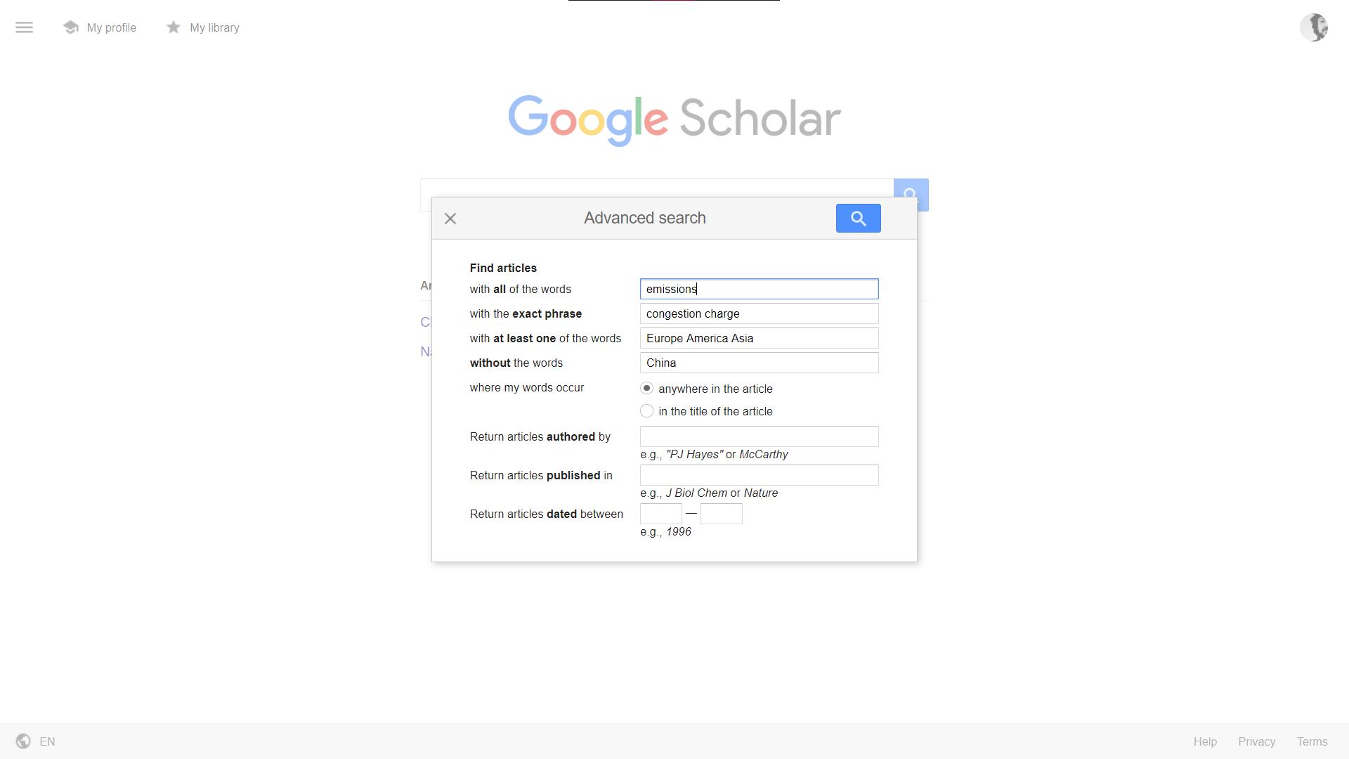 جستجوی پیشرفته در گوگل اسکولار
